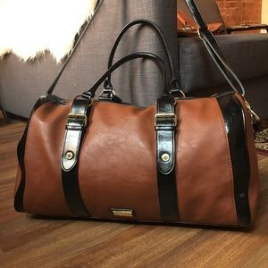 Steve Madden Brown Faux Leather Weekender Duffle